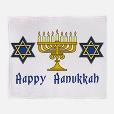 Happy Hanukkah Menorah and St Throw Blanket