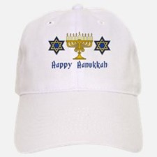 Happy Hanukkah Menorah and St Baseball Baseball Cap