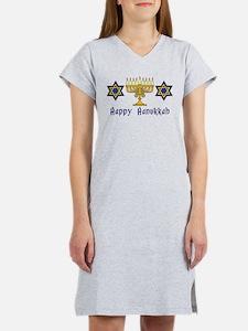 Happy Hanukkah Menorah and St Women's Nightshirt