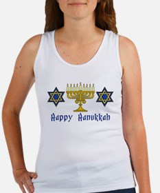 Happy Hanukkah Menorah and St Women's Tank Top
