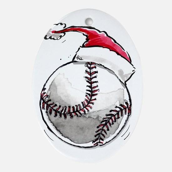 Xmas Baseball Ornament (Oval)