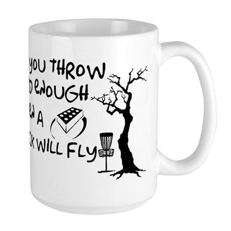 Even a brick will fly Large Mug