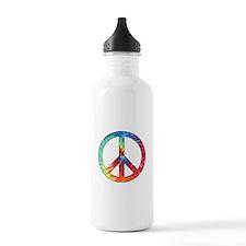Tie Dye Rainbow Peace Sign Water Bottle