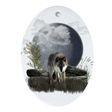 Wolf Ornament (Oval)