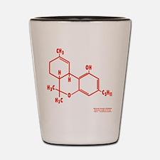 THC Molecule - Red Shot Glass