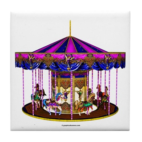 The Pink Carousel Tile Coaster