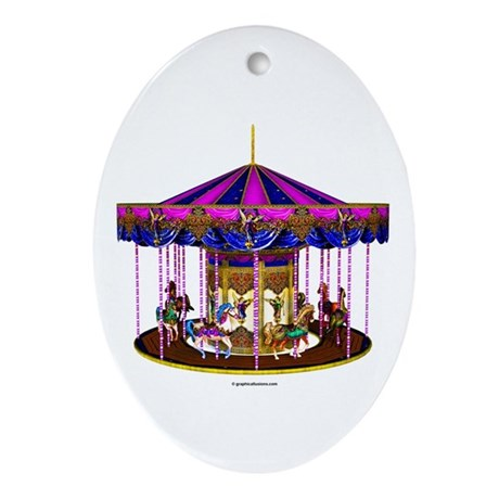 The Pink Carousel Ornament (Oval)