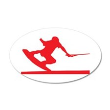 Red Wakeboard Nose Press 22x14 Oval Wall Peel