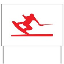 Red Wakeboard Nose Press Yard Sign