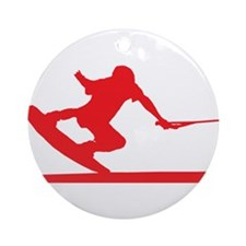 Red Wakeboard Nose Press Ornament (Round)