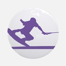Purple Wakeboard Nose Press Ornament (Round)
