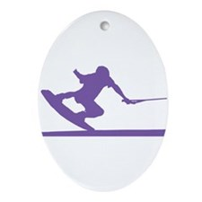 Purple Wakeboard Nose Press Ornament (Oval)