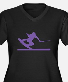 Purple Wakeboard Nose Press Women's Plus Size V-Ne