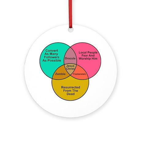 Jesus Zombie Dracula Frankens Ornament (Round)