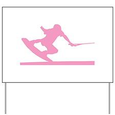 Pink Wakeboard Nose Press Yard Sign