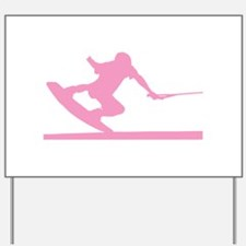 Pink Wakeboard Nose Press Yard Sign