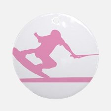 Pink Wakeboard Nose Press Ornament (Round)