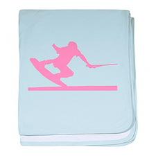 Pink Wakeboard Nose Press baby blanket