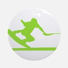 Green Wakeboard Nose Press Ornament (Round)