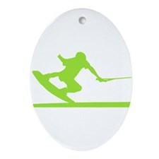 Green Wakeboard Nose Press Ornament (Oval)