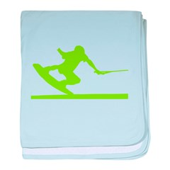 Green Wakeboard Nose Press baby blanket