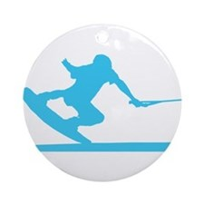 Blue Wakeboard Nose Press Ornament (Round)
