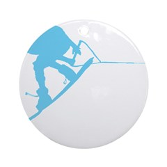Blue Wakeboard Back Spin Ornament (Round)