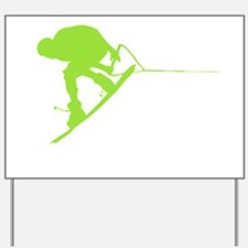 Green Wakeboard Back Spin Yard Sign