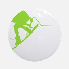 Green Wakeboard Back Spin Ornament (Round)
