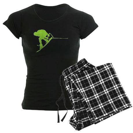 Green Wakeboard Back Spin Women's Dark Pajamas
