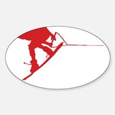 Red Wakeboard Back Spin Sticker (Oval)
