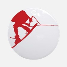 Red Wakeboard Back Spin Ornament (Round)