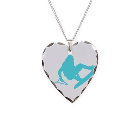 Blue Wakeboard 360 Handle Pas Necklace Heart Charm