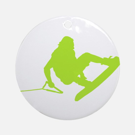 Green Wakeboard 360 Handle Pa Ornament (Round)