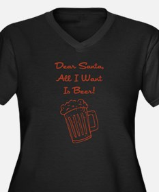 DEAR SANTA (BEER) Women's Plus Size V-Neck Dark T-