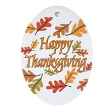 Happy Thanksgiving Ornament (Oval)