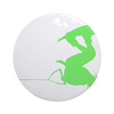 Green Wakeboard Invert Handle Ornament (Round)