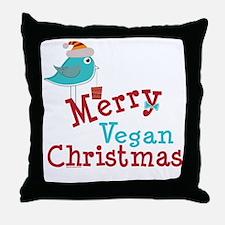 Merry Vegan Christmas Throw Pillow