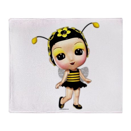 Little Miss Lady Bumblebee Throw Blanket