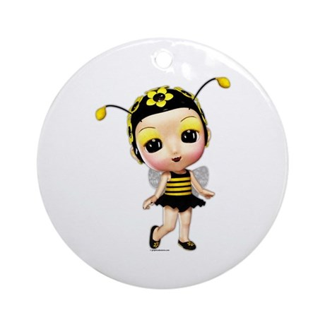 Little Miss Lady Bumblebee Ornament (Round)