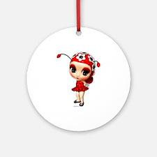 Little Miss Ladybug Ornament (Round)