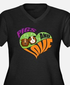 Pigs and Love Women's Plus Size V-Neck Dark T-Shir