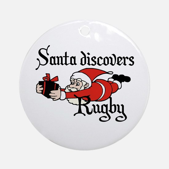 Santa Rugby Christmas Ornament (Round)
