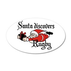 Santa Rugby Christmas 22x14 Oval Wall Peel