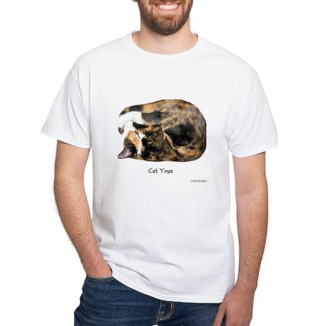 """Cat Yoga"" White T-Shirt"