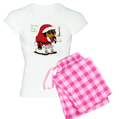 Santa Rottie with slippers Women's Light Pajamas