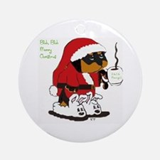 Santa Rottie with slippers Ornament (Round)