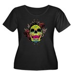 Sugar Skull Women's Plus Size Scoop Neck Dark T-Sh