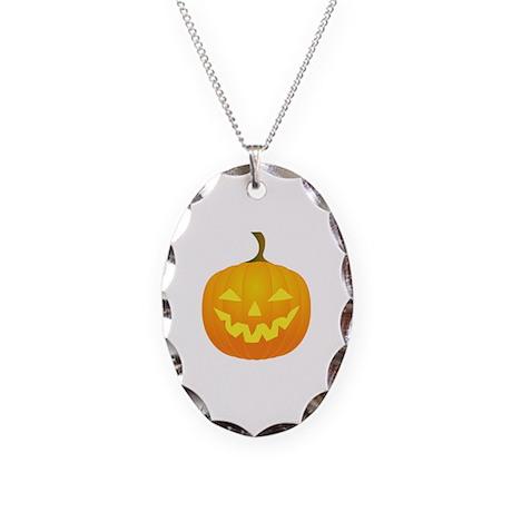 Jack O Lantern Necklace Oval Charm