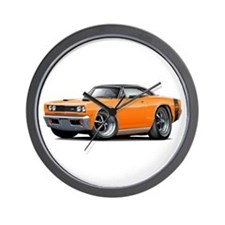 1969 Super Bee Orange-Black Car Wall Clock